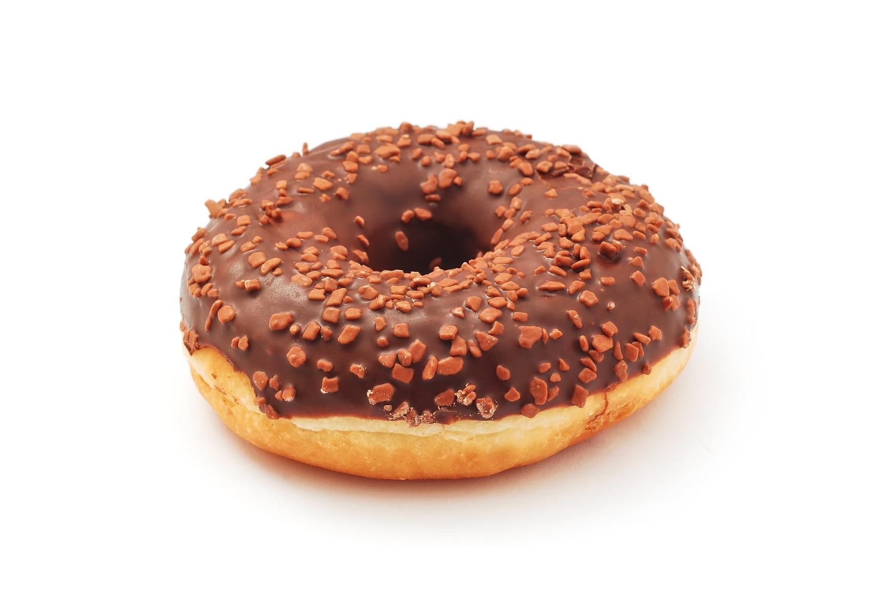 chocolate doughnut on white background