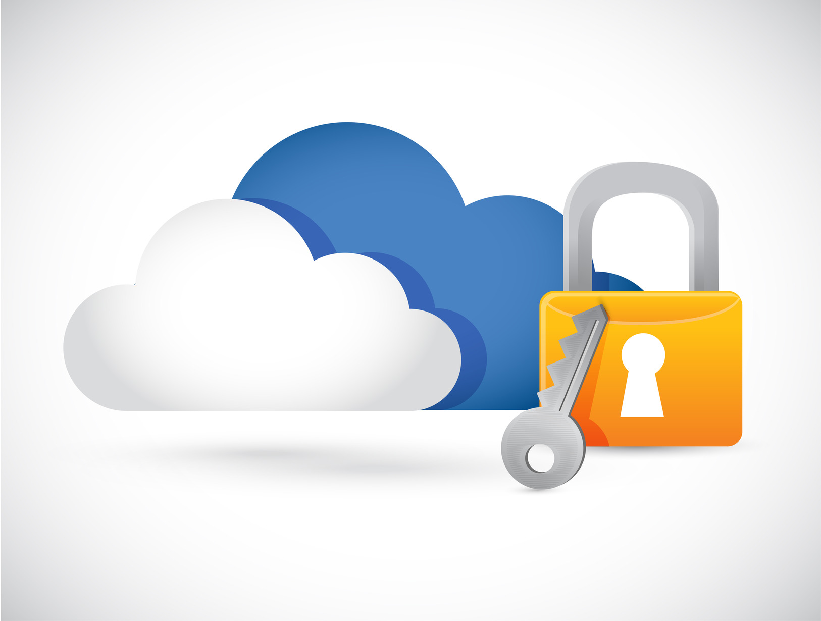 cloud computing illustration lock design over white