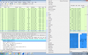 Selecting Wireshark columns